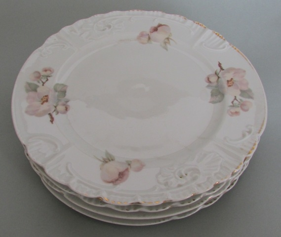 Art Nouveau plates with apple flowers. 4 pcs. : art nouveau plates - pezcame.com